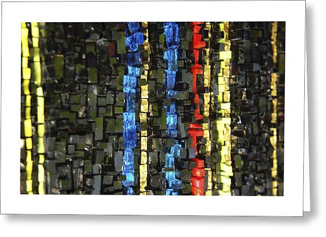 Gold Abstract Glass Art Greeting Cards - Fire Walk Greeting Card by Genna Wise