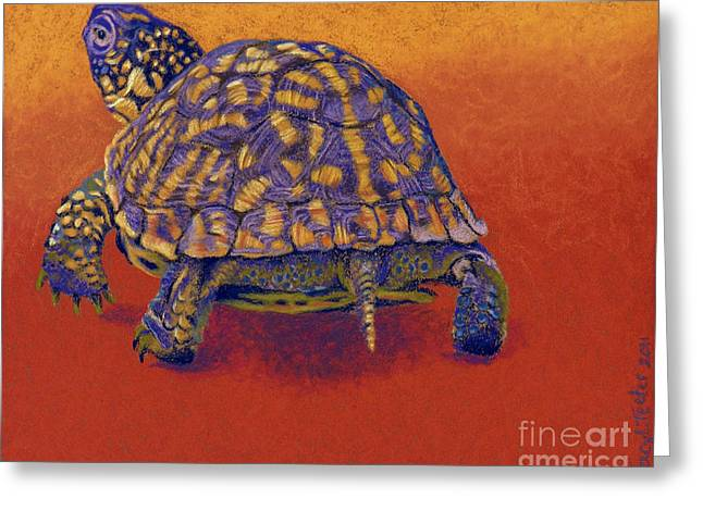 Olive Green Pastels Greeting Cards - Fire Walker - Box Turtle Greeting Card by Tracy L Teeter