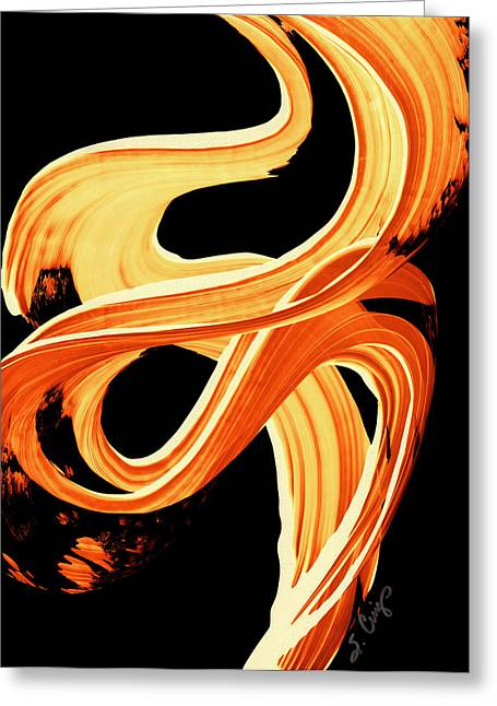 Orange Print Greeting Cards - Fire Water 207 By Sharon Cummings Greeting Card by Sharon Cummings