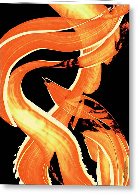Orange Print Greeting Cards - Fire Water 302 By Sharon Cummings Greeting Card by Sharon Cummings