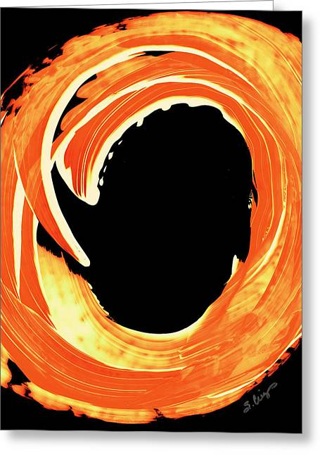 Orange Print Greeting Cards - Fire Water 312 By Sharon Cummings Greeting Card by Sharon Cummings