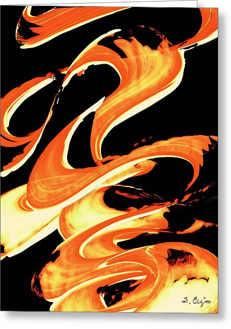 Orange Print Greeting Cards - Fire Water 314 By Sharon Cummings Greeting Card by Sharon Cummings