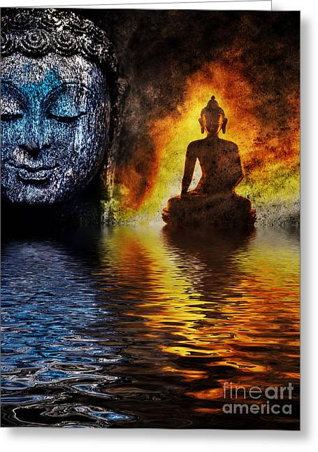 Meditate Greeting Cards - Fire water Buddha Greeting Card by Tim Gainey