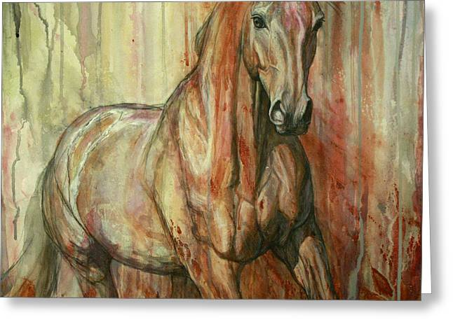 Horse Artist Greeting Cards - Fire Within Greeting Card by Silvana Gabudean
