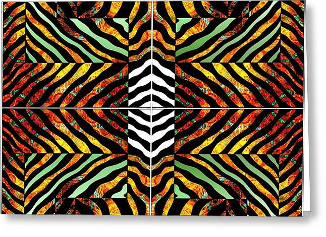Abstract Digital Drawings Greeting Cards - Fire Zebra Greeting Card by Joseph J Stevens