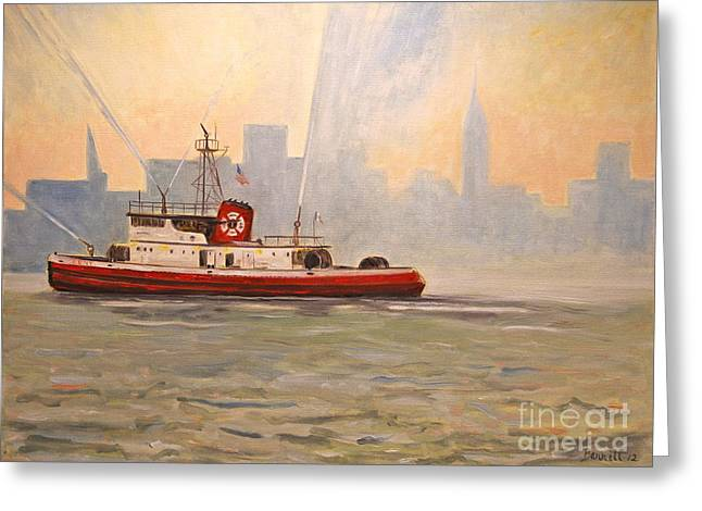 Fireboat Greeting Cards - Fireboat John D. McKean Greeting Card by Mark Barrett