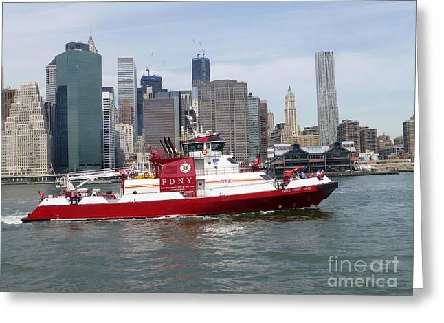 Fireboat Greeting Cards - Fireboat Three Forty Three  FDNY with the NYC Skyline Greeting Card by Steven Spak