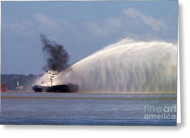 Fireboat Greeting Cards - Fireboat Tug Greeting Card by Bob Hislop
