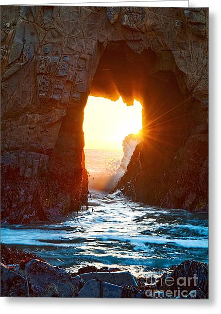 Pfeiffer Beach Greeting Cards - Fireburst - Arch Rock in Pfeiffer Beach in Big Sur. Greeting Card by Jamie Pham