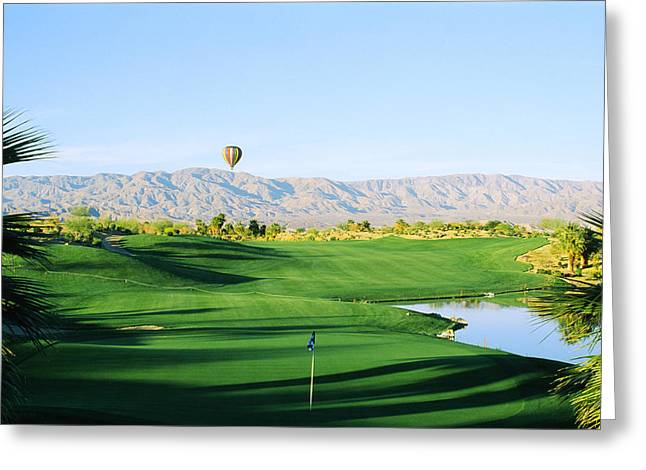 Desert Photography Greeting Cards - Firecliff Golf Course, Desert Willow Greeting Card by Panoramic Images