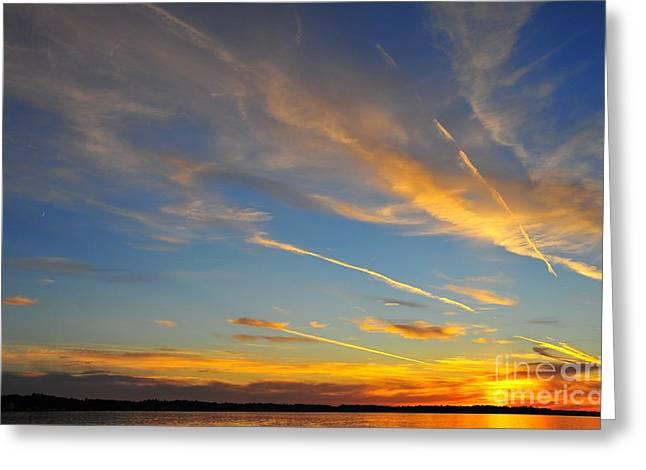 Twilight Greeting Cards - Firecracker Sunset 3 Greeting Card by Terri Gostola