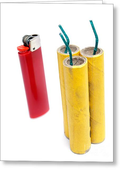 Firecracker Greeting Cards - Firecrackers and lighter Greeting Card by Sinisa Botas