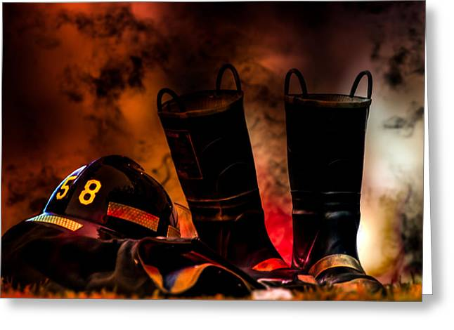 Courage Photographs Greeting Cards - Firefighter Greeting Card by Bob Orsillo