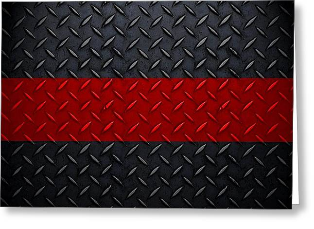 Recently Sold -  - Popular Art Greeting Cards - Firefighter Diamond Plate  Greeting Card by Mark Moore