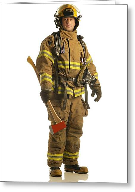 Bravado Greeting Cards - Firefighter Greeting Card by Don Hammond