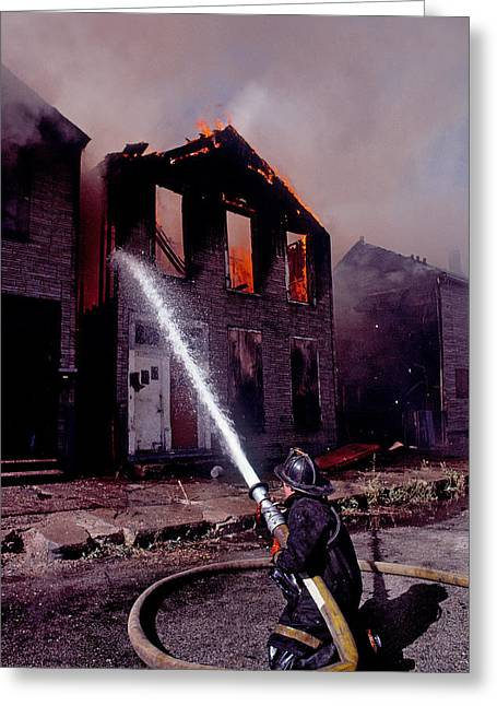 Occupation Greeting Cards - Firefighter During A Rescue Operation Greeting Card by Panoramic Images