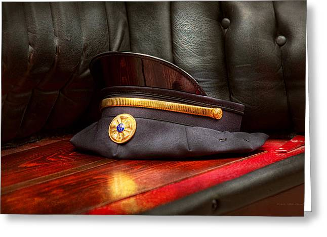 Brigade Greeting Cards - Firefighter - Hat - The ex chiefs hat Greeting Card by Mike Savad
