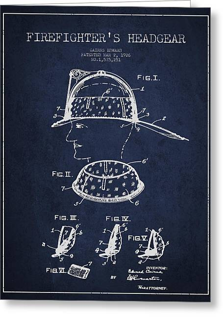 Firefighter Greeting Cards - Firefighter Headgear Patent drawing from 1926 Greeting Card by Aged Pixel
