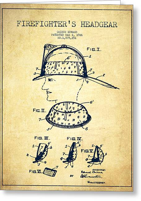 Firefighter Greeting Cards - Firefighter Headgear Patent drawing from 1926 - Vintage Greeting Card by Aged Pixel