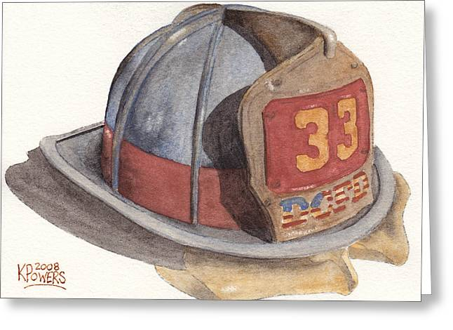 Fire Fighter Greeting Cards - Firefighter Helmet With Melted Visor Greeting Card by Ken Powers