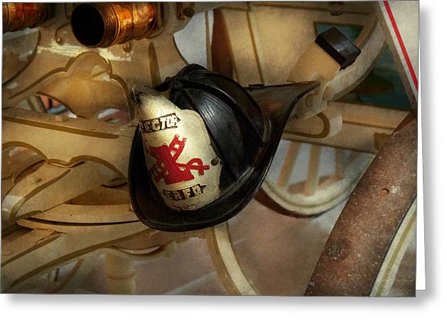 Firefighter - Somewhere to hang hat  Greeting Card by Mike Savad
