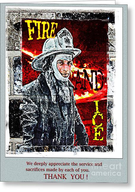Dantzler Greeting Cards - Firefighter THANK YOU card Greeting Card by Andrew Govan Dantzler