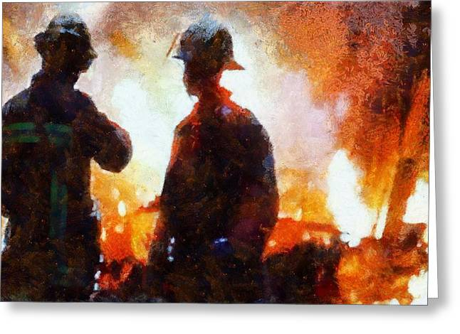 Rescuer Mixed Media Greeting Cards - Firefighters At The Scene Greeting Card by Dan Sproul