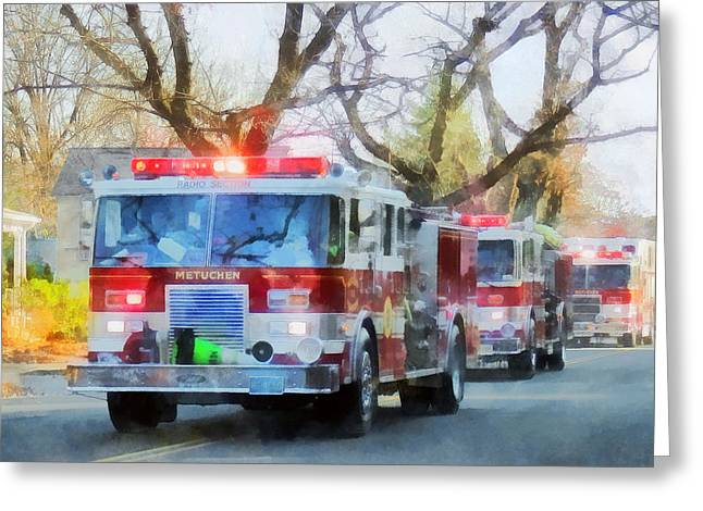 Firefighters Greeting Cards - Firefighters - Line of Fire Engines in Parade Greeting Card by Susan Savad