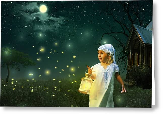 Lindaleesart Greeting Cards - Fireflies Greeting Card by Linda Lees