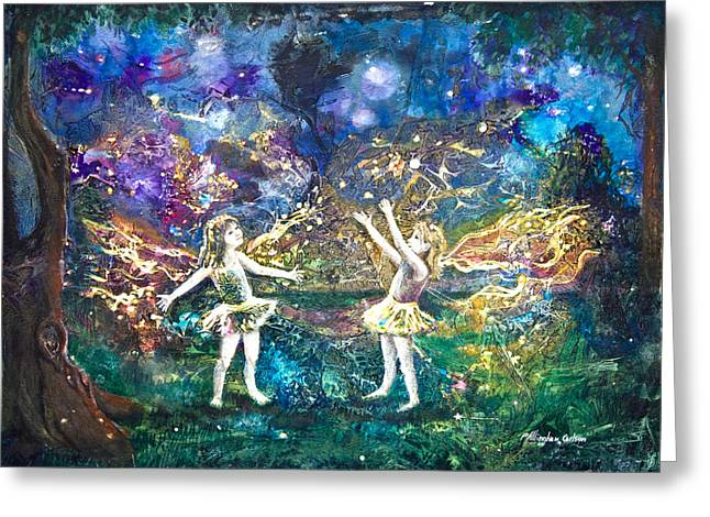 Nighttime Mixed Media Greeting Cards - Firefly Frolic Greeting Card by Patricia Allingham Carlson