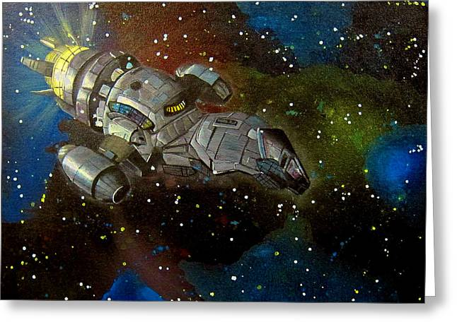 Outerspace Paintings Greeting Cards - Firefly Serenity Ship Greeting Card by Michelle Eshleman