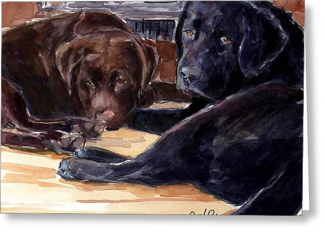 Sleeping Dogs Greeting Cards - Firelight Greeting Card by Molly Poole
