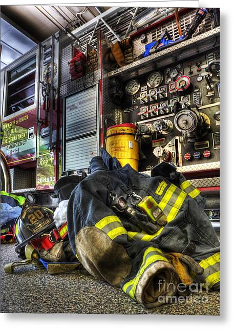 Gear Greeting Cards - Fireman - Always Ready for Duty Greeting Card by Lee Dos Santos