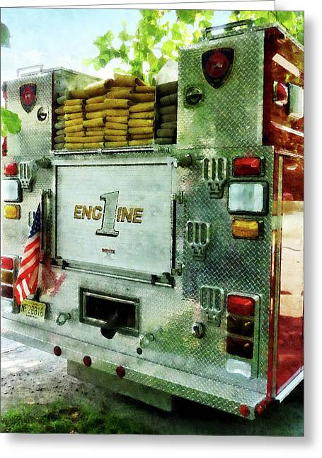 Firefighter Greeting Cards - Fireman - Back of Fire Truck Closeup Greeting Card by Susan Savad