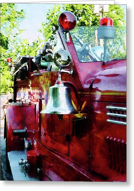 Truck Greeting Cards - Fireman - Bell on Fire Engine Greeting Card by Susan Savad