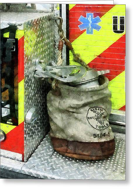 Firefighter Greeting Cards - Fireman - Bucket on Fire Truck Greeting Card by Susan Savad
