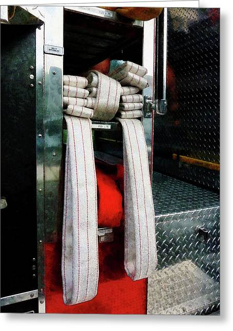 Fire Fighter Greeting Cards - Fireman - Closeup of Fire Hoses Greeting Card by Susan Savad