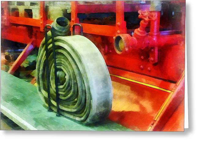 Truck Greeting Cards - Fireman - Coiled Hose on Fire Truck Greeting Card by Susan Savad