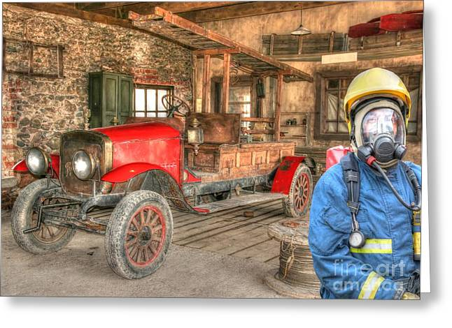 Fireman - Days Gone By  Greeting Card by L Wright