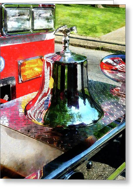 Truck Greeting Cards - Fireman - Fire Engine Bell Greeting Card by Susan Savad