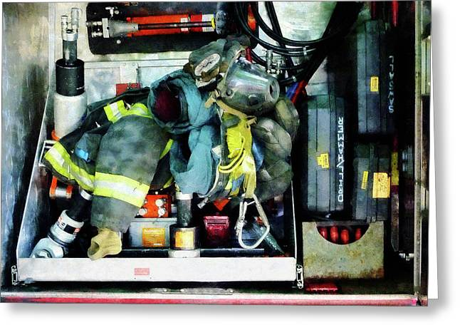 Fire Fighter Greeting Cards - Fireman - Fire Engine Gear Greeting Card by Susan Savad