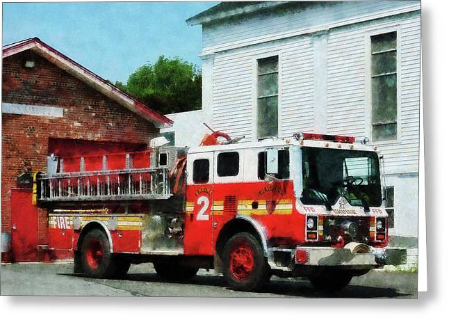 Firefighter Greeting Cards - Fireman - Fire Engine in Front of Fire Station Greeting Card by Susan Savad