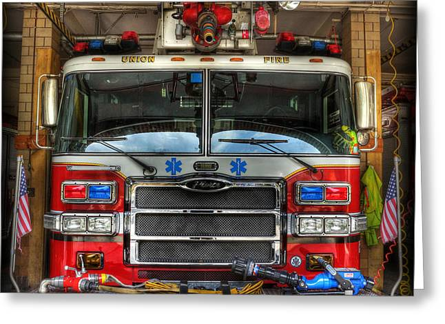 Fireman - Fire Engine Greeting Card by Lee Dos Santos