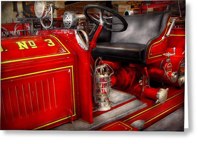 No 3 Greeting Cards - Fireman - Fire Engine No 3 Greeting Card by Mike Savad