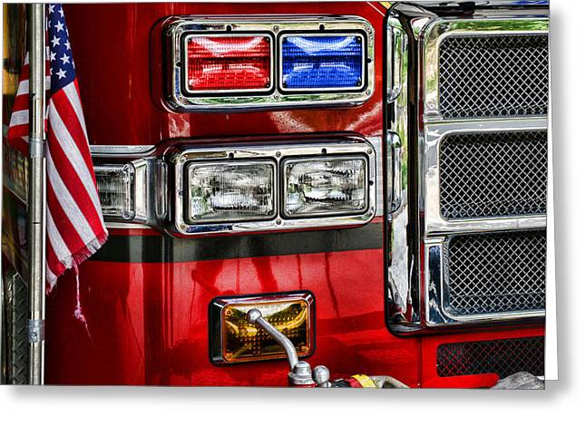 Fireman - Fire Engine Greeting Card by Paul Ward