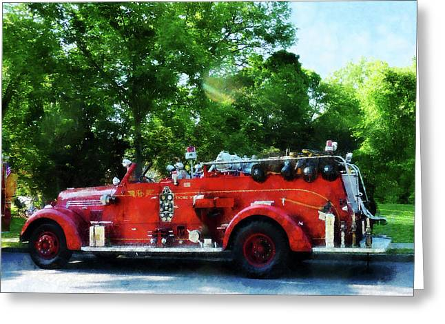 Fire Hose Greeting Cards - Fireman - Fire Engine Greeting Card by Susan Savad