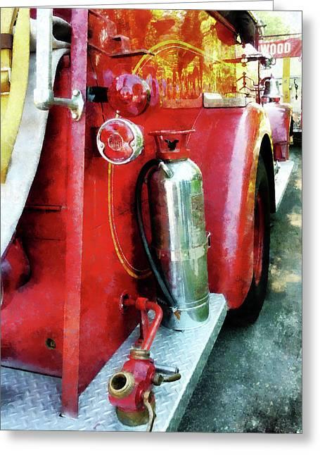 Fire Truck Greeting Cards - Fireman - Fire Extinguisher on Fire Truck Greeting Card by Susan Savad