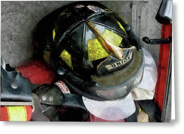 Fire Department Greeting Cards - Fireman - Fire Fighters Helmet Closeup Greeting Card by Susan Savad