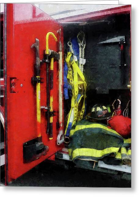 Truck Greeting Cards - Fireman - Fire Fighting Equipment Greeting Card by Susan Savad