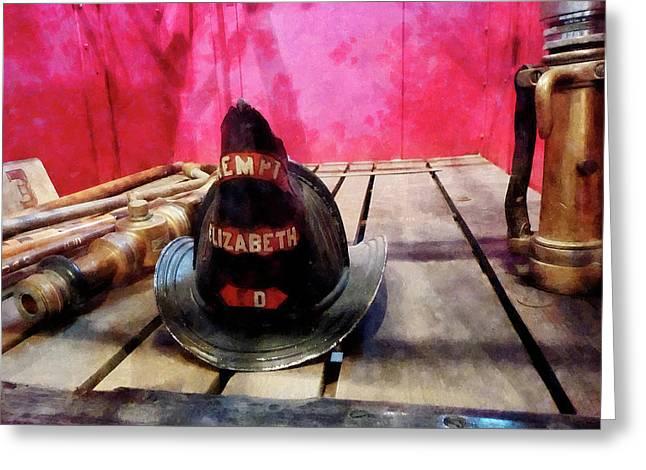 Fireman - Fire Helmet In Fire Truck Greeting Card by Susan Savad